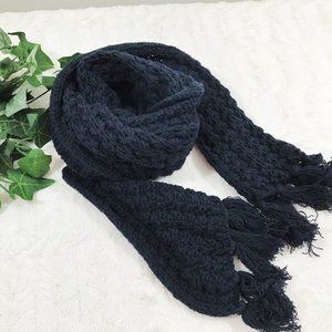 Chunky Hand Knitted Scarf Navy Blue